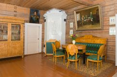 Interior living room. KONCHANSKOE-SUVOROVSKOE - AUGUST 8: The interior of the museum Suvorov in Konchanskoe-Suvorov skoe on August 8, 2013. Generalissimo A Stock Photos