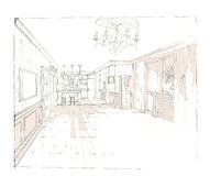 The interior of the living room. The interior of the livingroom hand drawn sketch interior design Royalty Free Stock Photography