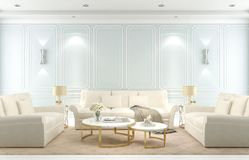 Interior living room, modern classic style, blue wall, 3D render royalty free illustration