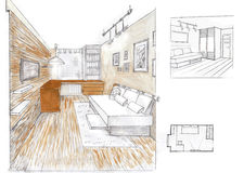 The interior of the living room. The modern interior of the livingroom hand drawn sketch interior design Royalty Free Stock Image