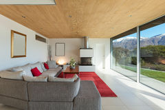 Interior, living room. Mountain house, modern architecture, interior, living room stock photography
