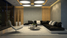 Interior of living room night view 3D rendering Royalty Free Stock Photos
