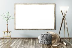Interior of living room with poster 3d rendering Stock Photography
