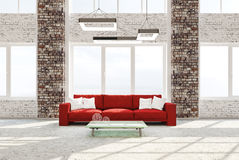 Interior of living room with red sofa 3d rendering Stock Photo