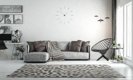 Interior living room, scandinavian style, with loose sofa & furn. Iture, 3D rendering, 3D illustration Royalty Free Stock Photos