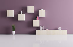 Living room with shelves 3d render Royalty Free Stock Photography