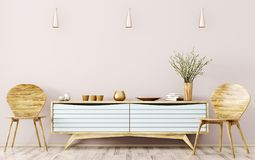 Interior of living room with sideboard and chairs 3d rendering Royalty Free Stock Photography