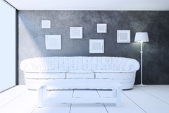 Interior living room in sketch style. 3d illustration Royalty Free Stock Images