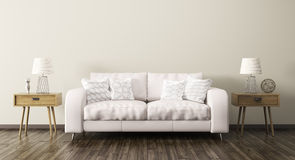 Interior of living room with sofa 3d render Royalty Free Stock Images