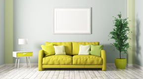 Interior of living room with sofa 3d render Royalty Free Stock Photography