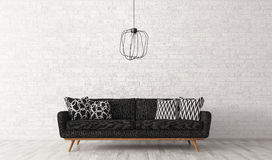 Interior of living room with sofa over brick wall 3d rendering. Modern interior of living room with black sofa and lamp against of white brick wall 3d rendering Royalty Free Stock Photos