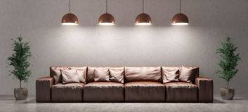Interior of living room with sofa over concrete wall Royalty Free Stock Image