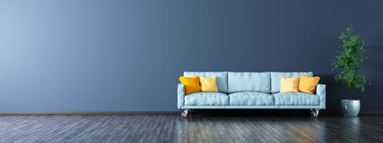 Interior of living room with sofa panorama 3d rendering Stock Photos