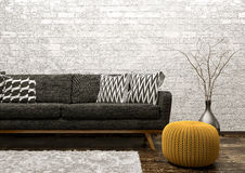 Interior of living room with sofa and pouf 3d rendering Royalty Free Stock Image