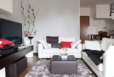 Interior of a living room, sofa and tv royalty free stock photo