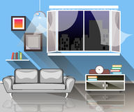 Interior of a living room. Living room with sofa, window and lamp Royalty Free Stock Photos