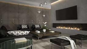 Interior of living room with stylish fireplace 3D rendering 3 Royalty Free Stock Photos