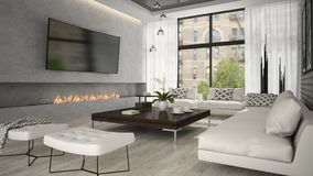 Interior of living room with stylish fireplace 3D rendering Royalty Free Stock Images