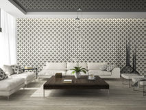Interior of living room with stylish wallpaper 3D rendering Stock Photo