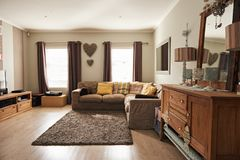 Interior of the living room of a suburban home Stock Images