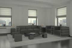 Interior Living Room. Three-dimensional visualization of the interior of the living room royalty free stock images