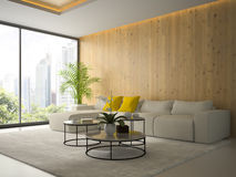 Interior of living room with tree coffee table 3D rendering Royalty Free Stock Photo
