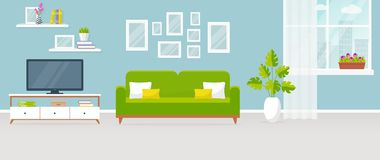 Interior of the living room. Vector banner. Design of a cozy room with sofa, TV stand, window and decor accessories vector illustration