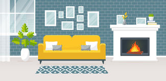 Interior of the living room. Vector banner. Modern interior of the living room. Vector banner. Design of a cozy room with sofa, fireplace, carpet, window and Royalty Free Stock Photography