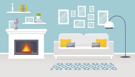 Interior of the living room. Vector banner. Modern interior of the living room. Vector banner. Design of a cozy room with sofa, fireplace and decor accessories Royalty Free Stock Photography