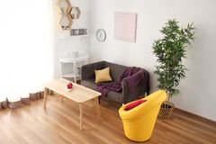Interior of living room, view from CCTV camera royalty free stock photo