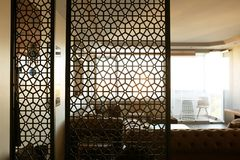 Interior of living room, view through decorative room. Divider royalty free stock image