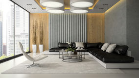Interior of living room with white armchair 3D rendering Royalty Free Stock Photos