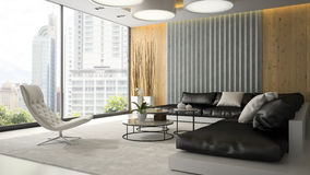 Interior of living room with white armchair 3D rendering 2 stock images