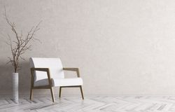 Interior of living room with white armchair 3d rendering Stock Photos