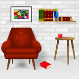 Interior. Of the living room with a white birch wall, with a red armchair and books. Format EPS available Royalty Free Stock Images
