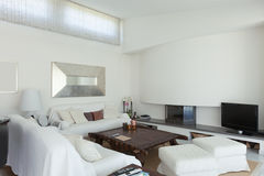 Interior, living room. White living room of a modern house royalty free stock images