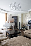 Interior of living room with white piano. Interior of luxury light living room with white piano stock images