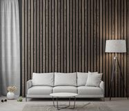 Interior of living room with wood planks wall, 3D Rendering.  Royalty Free Stock Images