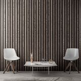 Interior of living room with wood planks wall, 3D Rendering.  Stock Image