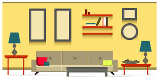 Interior living room. Living room with yellow wall Stock Photos