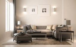 Interior living studio scandinavian, 3D render, 3D illustration. Interior living studio scandinavian, 3D render ,3D illustration Royalty Free Stock Photo