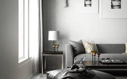 Interior living studio scandinavian, 3D render, 3D illustration stock illustration