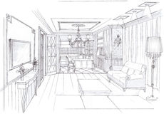 The interior of the livingroom. The classic interior hand drawn sketch interior design Stock Photos
