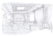The interior of the livingroom. The classic interior hand drawn sketch interior design Royalty Free Stock Photo