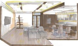 The interior of the livingroom. The modern interior hand drawn sketch interior design Royalty Free Stock Photos