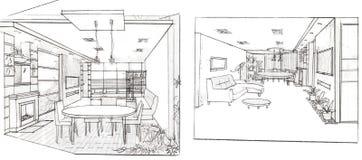 The interior of the livingroom. The modern interior hand drawn sketch interior design Stock Photo