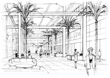 Interior lobby. Architectural drawing ink Stock Images