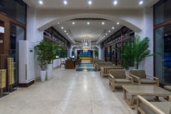 Interior of the lobby of a five star hotel Sea Side. Royalty Free Stock Image