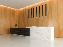 Interior of a lobby hotel reception 3D illustration Royalty Free Stock Photos