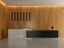Interior of a lobby hotel reception 3D illustration Stock Photography